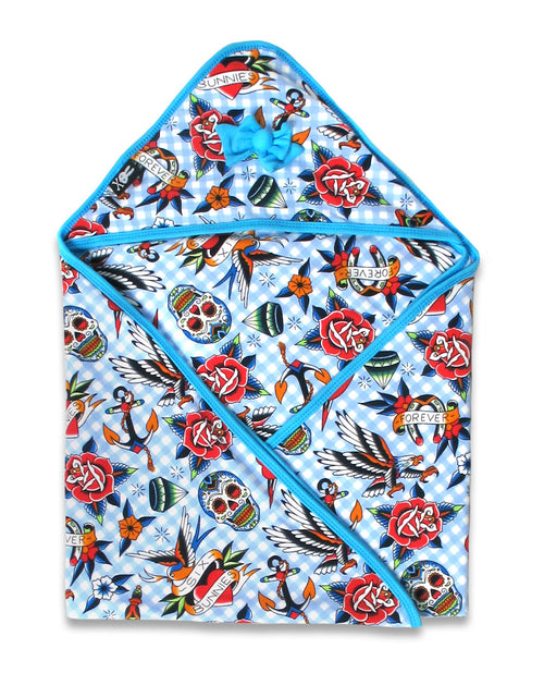 Blue Tattoo Shoppe Hooded Baby Blanket