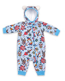 Six Bunnies Tattoo Shoppe Blue Zippy Playsuit