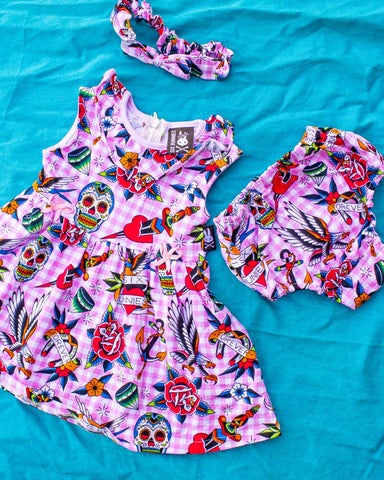 Tropical Flamingo Baby Dress Set Cream