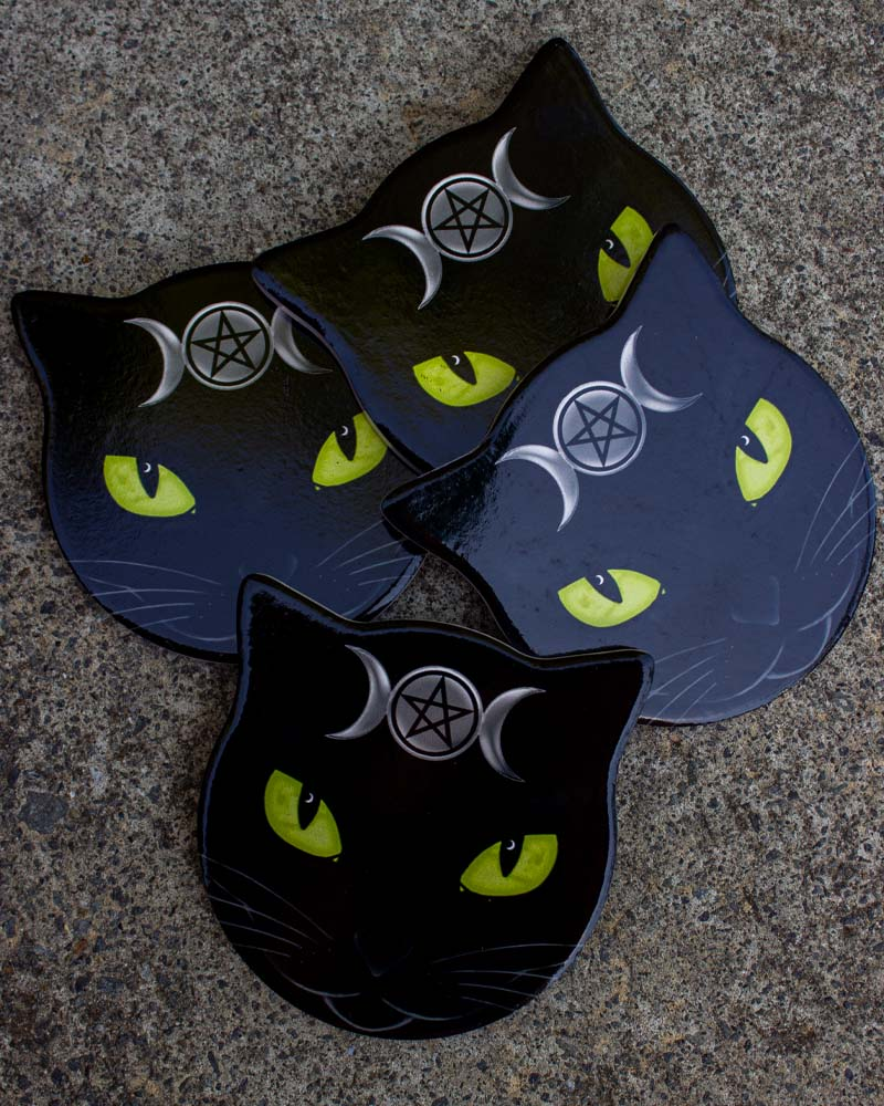 Alchemy England Triple Moon Cat Coaster Set