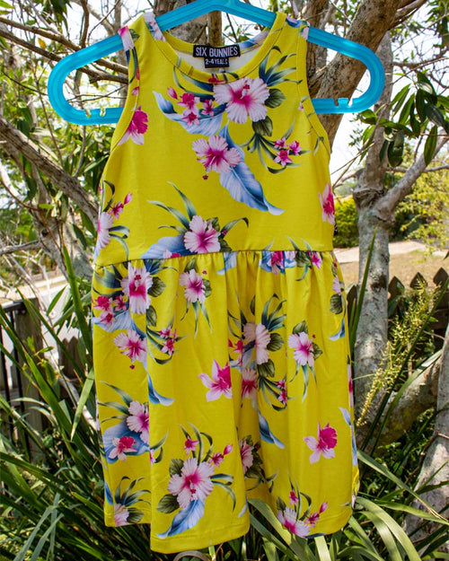 Six Bunnies Tropical Luau Tank Dress Yellow