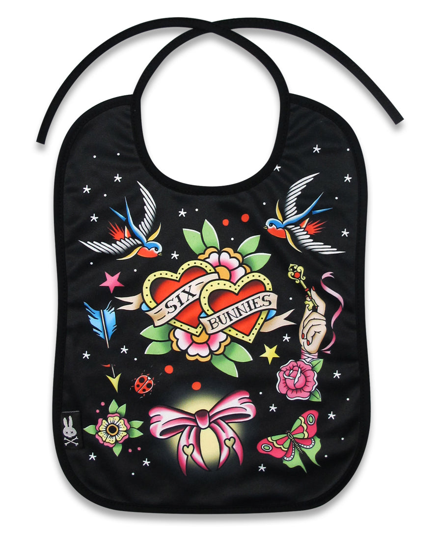 Six Bunnies True Love Bib Black