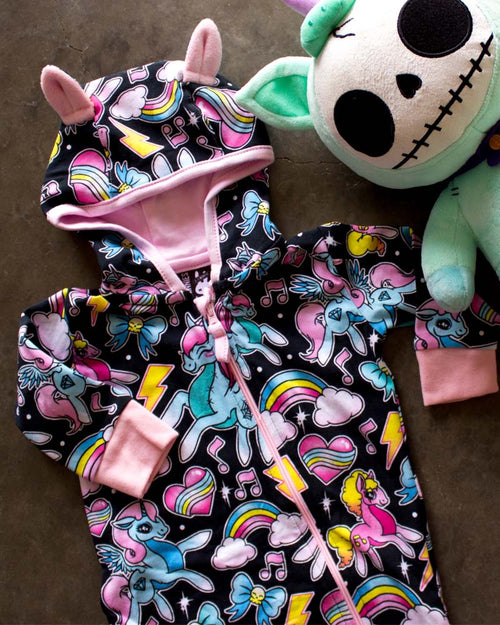 Six Bunnies Unicorns Zippy Playsuit