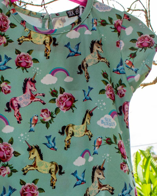 Six Bunnies Tattooed Unicorn Wonderland Tee Dress