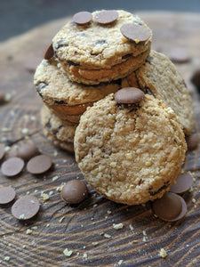 Carob and peanut butter cookie sandwich