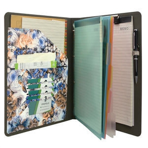 Flower Painting PU Leather Padfolio Ring Binder with Color File Folders, Organizer Portfolio File Folder with 4-Ring Binder and Clipboard