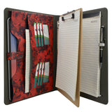 Flower Painting PU Leather Padfolio Ring Binder with Removable Clipboard, Organizer Portfolio File Folder with 3-Ring Binder