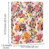 Flower Painting PU Leather Padfolio Ring Binder with Removable Clipboard, Organizer Portfolio File Folder with 4-Ring Binder