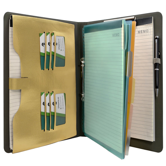 Binder Padfolio Organizer with Color File Folders, Organizer Portfolio File Folder with 2-Ring Binder and Clipboard