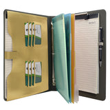 Binder Padfolio Organizer with Color File Folders, Organizer Portfolio File Folder with 3-Ring Binder and Clipboard