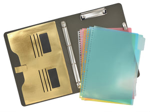 Binder Padfolio Organizer with Color File Folders, Organizer Portfolio File Folder with 4-Ring Binder and Clipboard