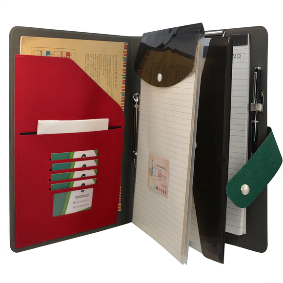 Ring Binder Padfolio with Expanded Document Bag, 2-Ring Binder Portfolio Organizer Business Case with Clipboard