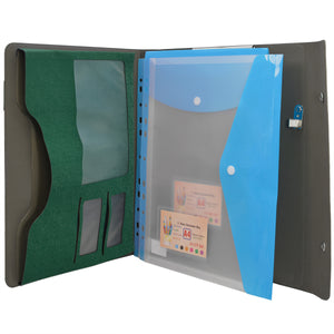 Ring Binder Padfolio with A4 Expanded Document Bags, Organizer Binder Portfolio Case with 2-Ring Binder and Clipboard
