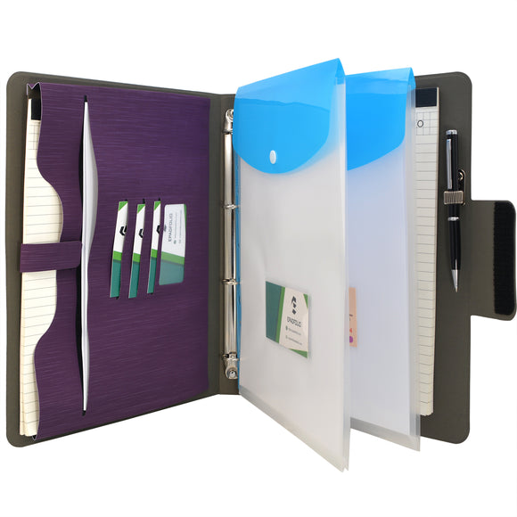 Padfolio Ring Binder with Expanded Document Bag, Business Organizer Portfolio with 4-Ring Binder and Clipboard