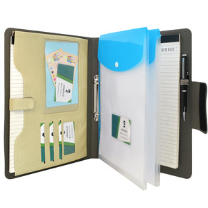 Ring Binder Padfolio with A4 Expanded Document Bag, Business Organizer Portfolio with 2-Ring Binder and Clipboard