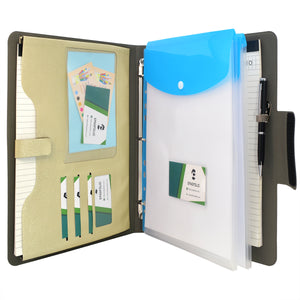 Ring Binder Padfolio with A4 Expanded Document Bag, Business Organizer Portfolio with 3-Ring Binder and Clipboard