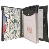 Ring Binder Portfolio, 3-Ring Binder Padfolio with Expanded Document Bag, Padfolio Ring Binder Business Organizer Portfolio Case