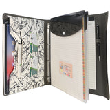 Ring Binder Portfolio, 4-Ring Binder Padfolio with Expanded Document Bag, Padfolio Ring Binder Business Organizer Portfolio Case