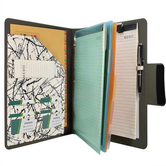 Padfolio Ring Binder with Color File Folders, 3-Ring Binder Portfolio  A4 Binder Padfolio Organizer Document Case