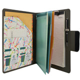 Padfolio Ring Binder with Color File Folders, 4-Ring Binder Portfolio  A4 Binder Padfolio Organizer Document Case