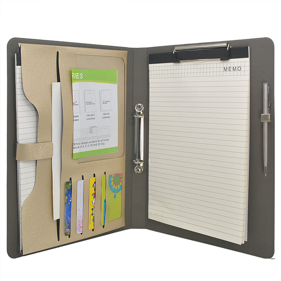 2 Ring Binder Padfolio File Folder, Business Organizer Portfolio with 2-Ring Binder, Clipboard