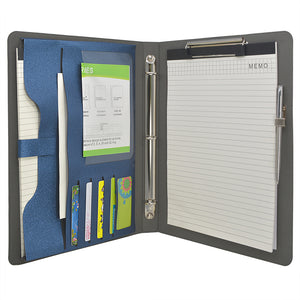 3 Ring Binder Padfolio File Folder, Business Organizer Portfolio with 3-Ring Binder, Clipboard