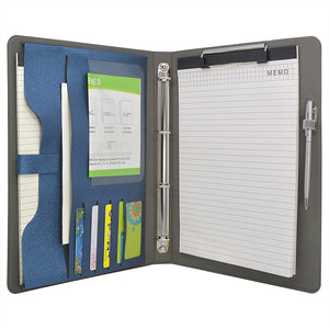 4 Ring Binder Padfolio File Folder, Business Organizer Portfolio with 4-Ring Binder, Clipboard