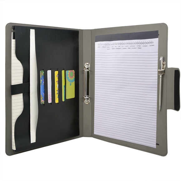 Padfolio Ring Binder File Folder, Business and Interview Portfolio with 2-Ring Binder
