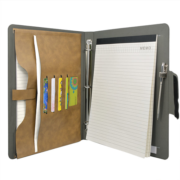 Padfolio Ring Binder File Folder, Business and Interview Portfolio with 3-Ring Binder
