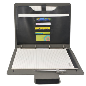 Padfolio Ring Binder File Folder, Business and Interview Portfolio with 4-Ring Binder