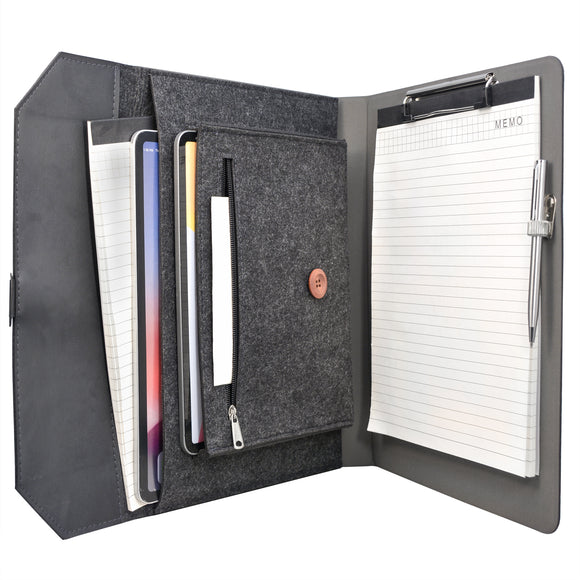 Professional Padfolio Organizer Portfolio Case, Business Portfolio Folder with Clipboard and Document Pocket
