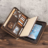 Vintage Genuine Leather Padfolio for iPad mini, Zipper Leather Portfolio with A5 Size Notepad Holder, Business Carrying Case