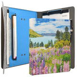 Painting PU Leather Padfolio Organizer Portfolio, Business Portfolio File Folder with Clipboard and Document Pocket