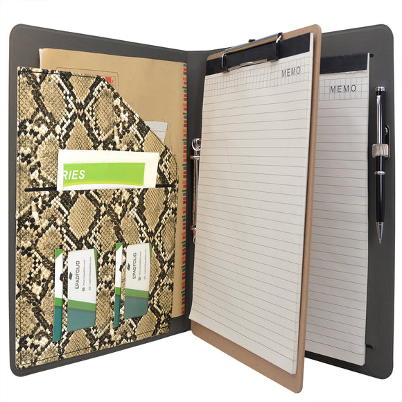 Padfolio Ring Binder File Folder with Removable Clipboard, Snake Texture PU Leather Portfolio Organizer Case with 2-Ring Binder