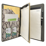 Padfolio Ring Binder File Folder with Removable Clipboard, Snake Texture PU Leather Portfolio Organizer Case with 3-Ring Binder