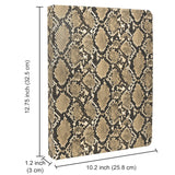 Padfolio Ring Binder File Folder with Removable Clipboard, Snake Texture PU Leather Portfolio Organizer Case with 4-Ring Binder