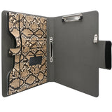 Padfolio Ring Binder File Folder, Snake Texture PU Leather Portfolio Organizer Case with 2-Ring Binder and Clipboard