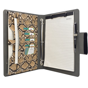Padfolio Ring Binder File Folder, Snake Texture PU Leather Portfolio Organizer Case with 3-Ring Binder and Clipboard