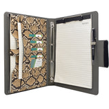 Padfolio Ring Binder File Folder, Snake Texture PU Leather Portfolio Organizer Case with 4-Ring Binder and Clipboard