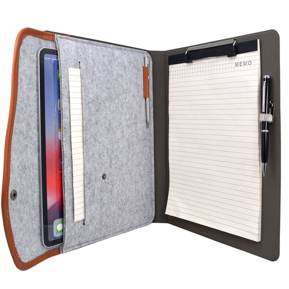 Business Padfolio File Folder,  Snake Texture PU Leather Portfolio Organizer Case with Clipboard and Document Pocket