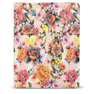 Flower Painting PU Leather Padfolio Organizer Portfolio, Business Portfolio File Folder with Clipboard and Document Pocket