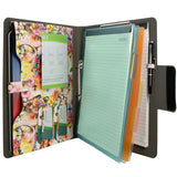 Padfolio Ring Binder with Color File Folders, Flower Painting PU Leather Organizer Portfolio with 2-Ring Binder and Clipboard