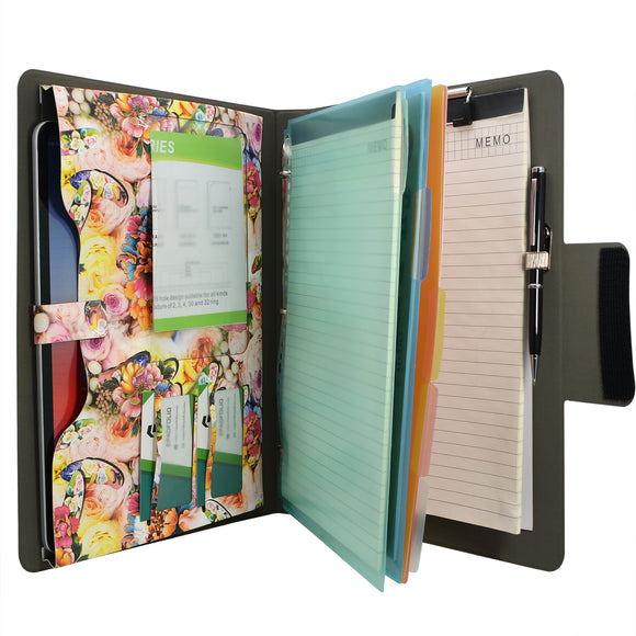 Padfolio Ring Binder with Color File Folders, Flower Painting PU Leather Organizer Portfolio with 3-Ring Binder and Clipboard