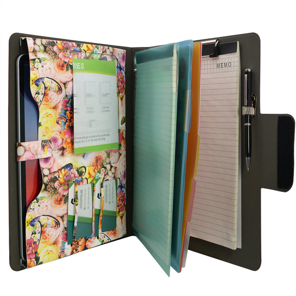 Padfolio Ring Binder with Color File Folders, Flower Painting PU Leather Organizer Portfolio with 4-Ring Binder and Clipboard