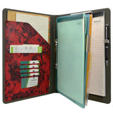 Flower Painting PU Leather Padfolio Ring Binder with Color File Folders, Organizer Portfolio File Folder with 2-Ring Binder and Clipboard