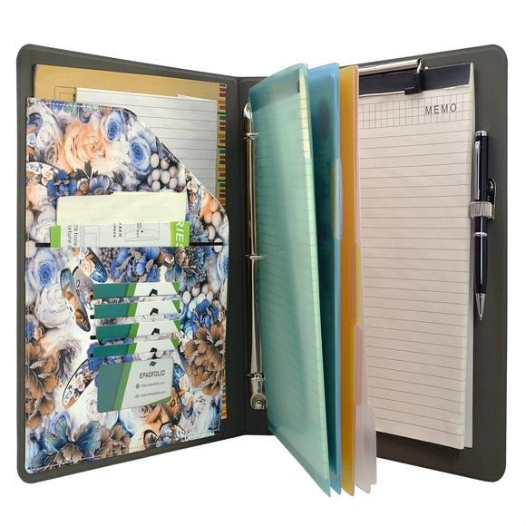 Flower Painting PU Leather Padfolio Ring Binder with Color File Folders, Organizer Portfolio File Folder with 3-Ring Binder and Clipboard