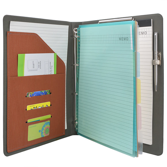 Binder Padfolio Organizer with Color File Folders, Business and Interview Portfolio with 4-Ring Binder, Clipboard
