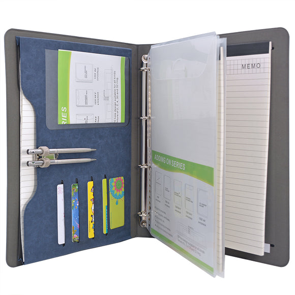 4-Ring Binder Padfolio with Expanded Document Bag, Business and Interview Portfolio with 4-Ring Binder
