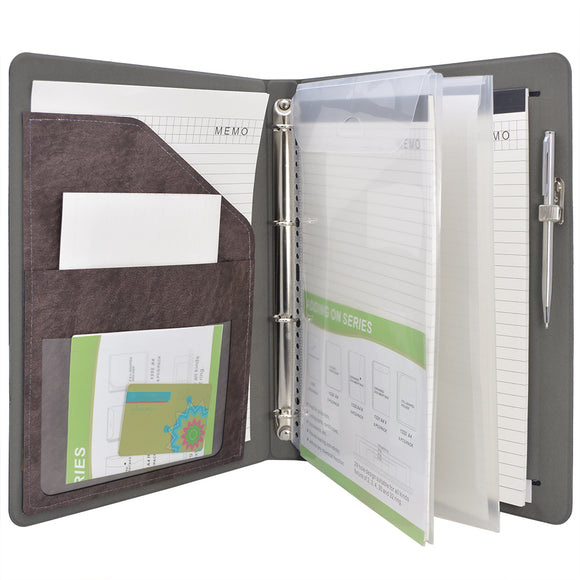 Ring Binder Padfolio with Expanded Document Bag, Organizer Business and Interview Portfolio with 4-Ring Binder