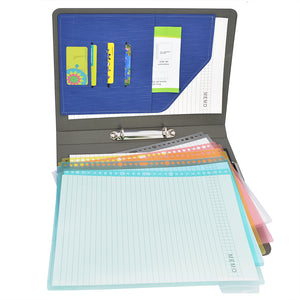 Binder Padfolio Organizer with Color File Folders, Business and Interview Portfolio with 2-Ring Binder, Clipboard